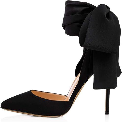 Hayaya Chaussures de Mariage pour Femmes, Nouvelle Nouvelle Mode Wild Point Pointu Gommage Haut Talon élégant Sexy Bretelles Satin Coutures Les Les dames Sandales,b,36  magasin en ligne de sortie