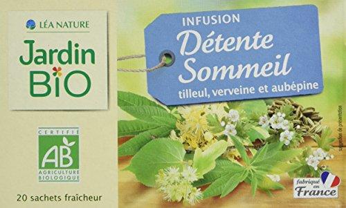 Jardin Bio Infusion Bio Détente et sommeil - tilleul, verveine et aubépine - La boîte de 20 sachets, 30g