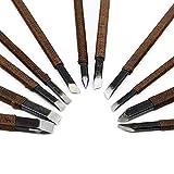 XCSSKG Juego de 11 piezas de herramientas de tallado de piedra para cinceles y cuchillos de acero de aleación