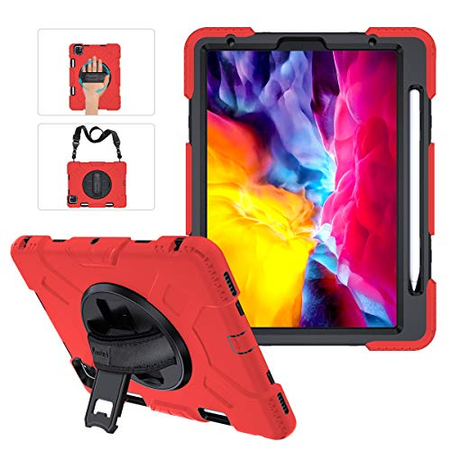 iPad Pro 11 2nd Generation Case with Pencil Holder [Support Pencil Charging], Miesherk STOCK Three Layer Shockproof Protective Cover+Handle Hand Strap+Shoulder Strap+Stand for iPad 11' 2020/2018 Red