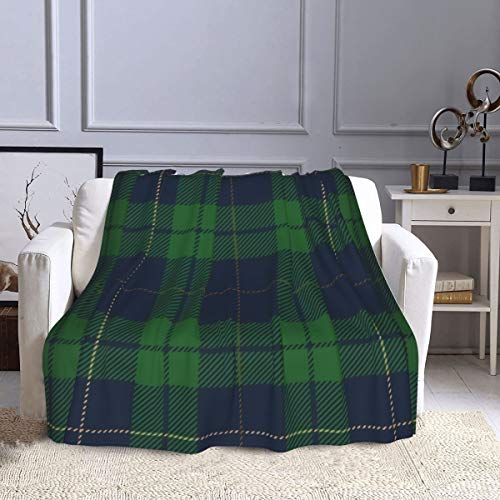 Fleecedecke Blau Grün Tartan Schottenkaro, schottisches Textil Alte Couch Decke Ultra Weich Warm Plüsch Überwurf Decken für Couch Bett Sofa Büro und Wohnzimmer 127 x 152,4 cm