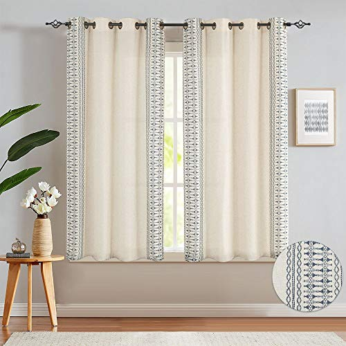 """Embroidered Window Curtains for Bedroom- Quatrefoil Flax Linen Blend Textured Geometry Lattice Grommet Window Treatment Set for Living Room 50"""" W x 63"""" L 2 Panels Blue"""