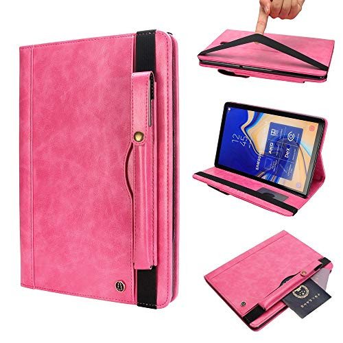LISUONG MZYM AYCC Horizontal Flip Leather Case for Galaxy Tab S4 T830 10.5 inch, with Double Card Slots & Pen Slots & Holder & Wallet & Photo Frame(Black) (Color : Rose Red)
