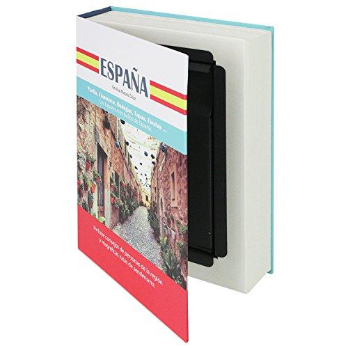 """HMF 80945 caja fuerte en forma de libro, caja de caudales camuflada, páginas de papel auténticas,""""España"""", 23 × 15 × 4 cm, rotulación en español"""