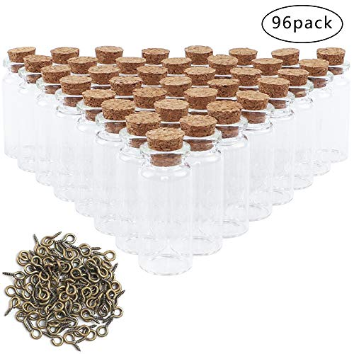CDWERD 96 Stück Mini Glasflaschen mit Korken klein Glasfläschchen, mit 100 Augenschrauben, für die Aufbewahrung von Gewürzen, Sand usw