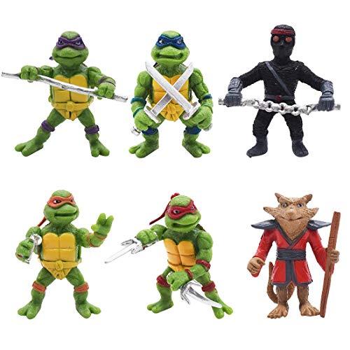 Mini Juego de Figuras Decoración para Tartas YUESEN 6pcs Mutant Ninja Turtle Caricatura Cake Topper Mini Juguetes Baby Shower Fiesta de cumpleaños Pastel Decoración Suministros para Adorno de Torta