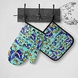 lymknumb Conjunto de Manoplas y Soportes para ollas de Mariposas Azules de Insectos con Agarre Antideslizante de algodón Antideslizante, para Cocina, Barbacoa, Cocina, horneado, asado