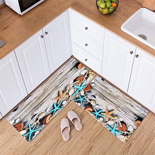 Ommda Küchen Teppiche Läufer 3D Muster Antiskid Waschbar Saugfähige Weich für Flur Schlafzimmer Küchenläufer Ecke Home Dekorativ Seestern 60x90cm+60x180cm