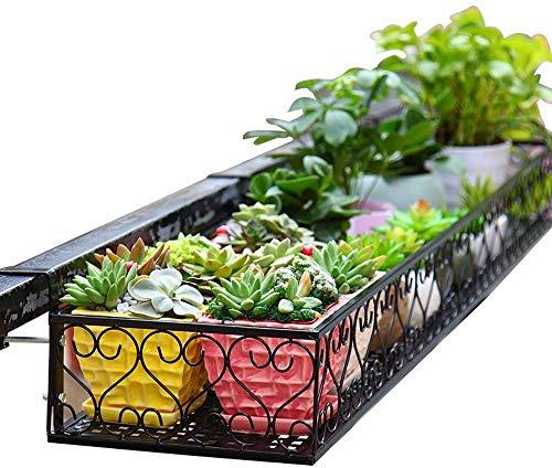 NMDCDH Schwarz multifunktionale Balkon geländer blumenständer wandbehang geländer schmiedeeisen Zaun Stehen blumenständer (größe: 100 * 25 * 12 cm)