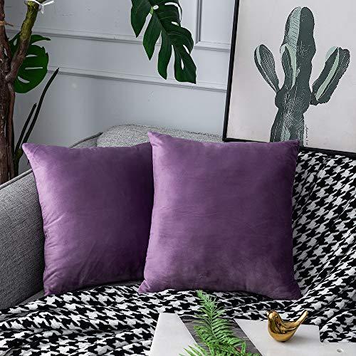 UPoPo - Juego de 2 fundas de cojín de terciopelo decorativas, de un solo color, suave, cojín decorativo, cojín para sofá, dormitorio, salón, con cremalleras, violeta claro, 45 x 45 cm