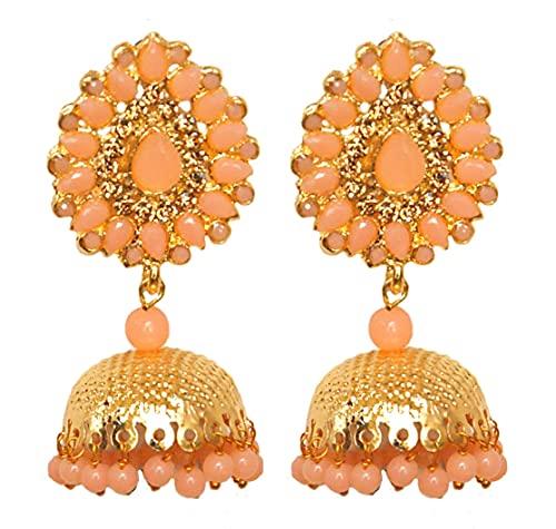 Pahal tradicional Jadau Peach Orange Kundan Pearl Big Gold Jhumka Pendientes indios Bollywood joyería nupcial para mujeres