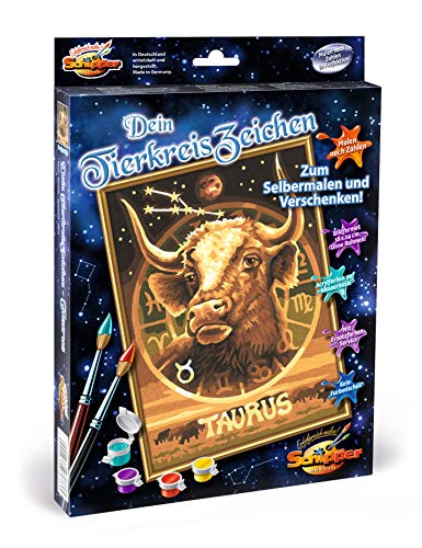 Schipper 609390673 - Malen nach Zahlen - Tierkreiszeichen, Stier - Bilder malen für Erwachsene, inklusive Pinsel und Acrylfarben, 18 x 24 cm
