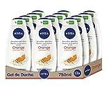 NIVEA Gel de Ducha Care & Orange - Paquete de 12 x 750 ml - Total: 9 l