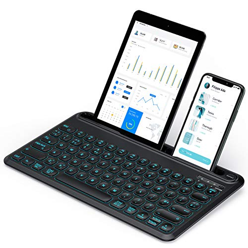 Backlit Multi-Device Bluetooth Keyboard for iOS/Mac OS/Android/Windows Devices, Wireless Rechargeable Keyboard with Integrated Cradle UK Layout for iPads 12.9', Phone, Samsung Tabs, Lenovo Tabs, Black