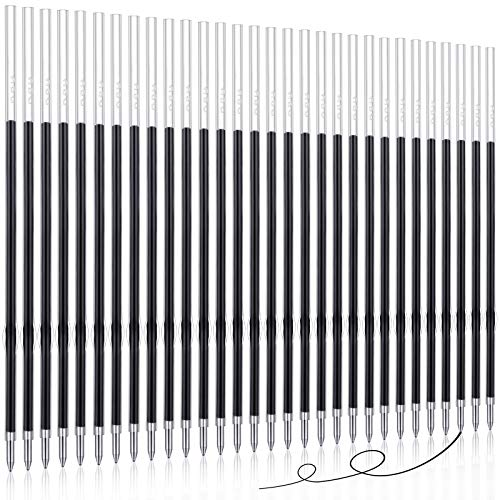 Sepamoon 30 Pieces Retractable Pen Refills Ballpoint Pen Refills Replacement Refills for Retractable Pens 0.7 mm (Black)