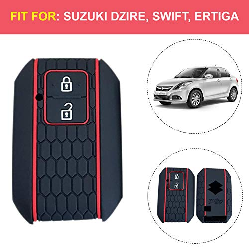 AllExtreme EXKC05 2 Buttons Silicone Car Remote Key Cover Shell Case Body Compatible with DZIRE (Black)