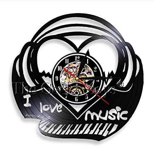 Reloj de pared de vinilo Me encanta la música, el teclado del piano, el reloj de pared, el latido del corazón, el disco de vinilo, el reloj de pared con 7 colores que cambian la onda sonora, la canci