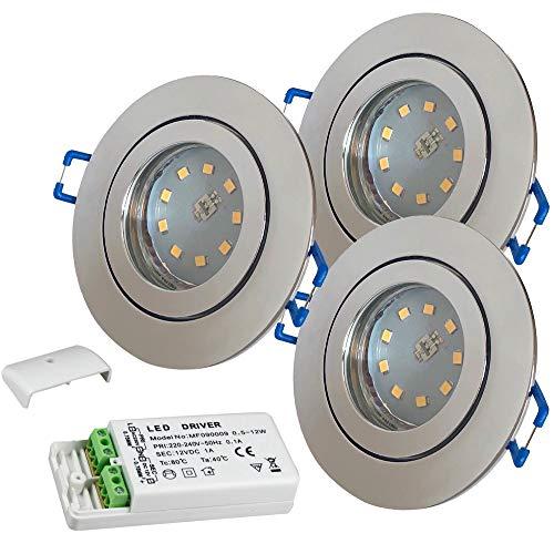 LED Bad Einbauleuchten 12V inkl. 3 x 3W SMD LM Farbe Chrom IP44 LED Deckenspots Neptun Rund 3000K mit Trafo