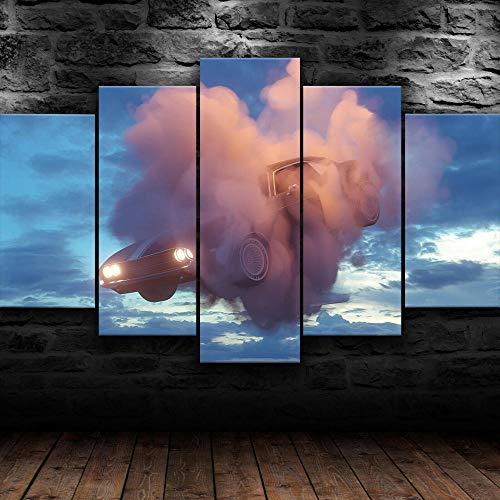 KOPASD Art Impresión Lienzo,Tamaño Grande, Coche Volador en Nubes -200x100cm Diseño Profesiona/5pcs(Sin Marco)