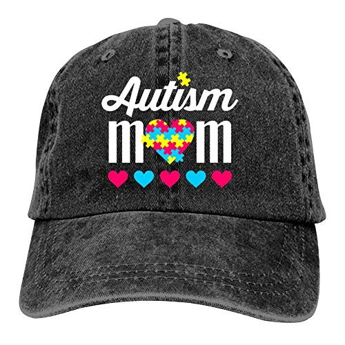 Mesh Trucker Hat Autism Mom, Traditional Tactical Hats Baseball Cap, Black, One Size