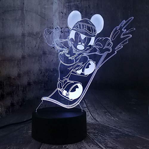 Lámpara De Ilusión 3D Cool Surfing Mickey Mouse Lámparas De Mesa De Dormitorio Luz Nocturna Panel De Acrílico Usb 7 Colores Cambiar La Lámpara De Base Táctil Regalo Para Niños