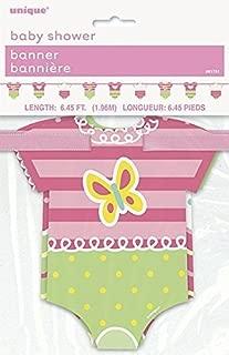 6.5ft Pink Polka Dot Onesie Girl Baby Shower Paper Garland