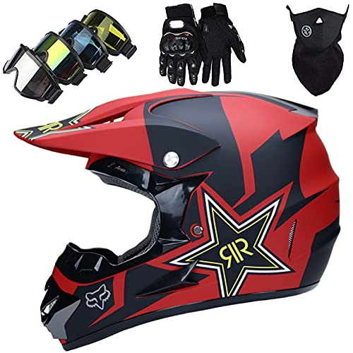 KILCVEM Casco Motocross Niño 5~12 Años ECE Homologado Casco Moto Integral Unisex para Descenso Enduro MTB Quad BMX Bicicleta Casco Infantil Set (4 Piezas) - con Diseño Fox - Negro Mate Rojo,L
