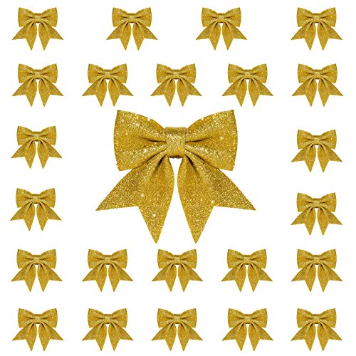 Whaline 24pcs Christmas Bow Decorations, Gold Wreaths Bows, Small Christmas Tree Bow, 5.5 in Sequin Bow Ties, Xmas Decorative Bows Ornaments for Home Christmas Party