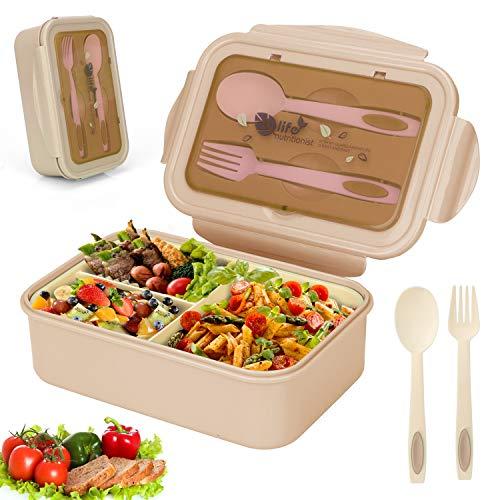 Sinwind Lunch Box, Porta Pranzo, Bento Box con 3 Scomparti e Posate(Forchetta e Cucchiaio), Per Microonde e Lavastoviglie/Approvato dalla FDA/No BPA. (Beige)