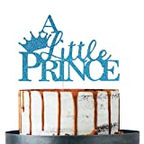 Blue Glitter A Little Prince Cake Topper - for Baby Boy Shower, Little Boy's Birthday Party Decorations