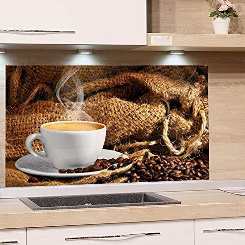 GRAZDesign Glaswand Küche Kaffee Tasse - Spritzschutz Küche Herd Braun - Küchenrückwand Glas Küchenbilder / 80x40cm