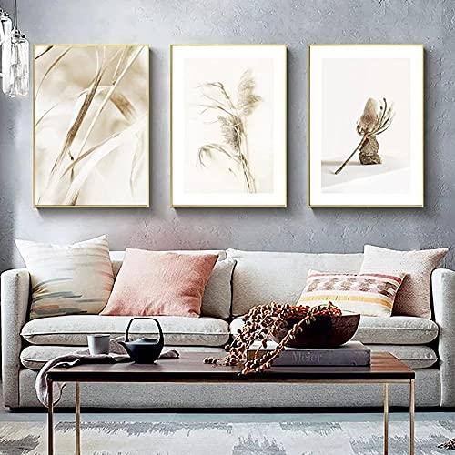 Natura Erba Stampa su tela Poster Stile nordico Paesaggio Wall Art Pittura Immagine minimalista Modern Home Decor Senza cornice-30x40cmx3