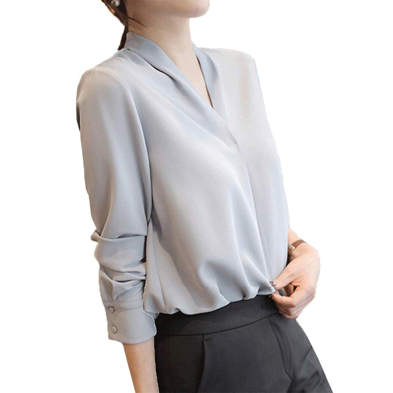 [美しいです] シフォンシャツ 長袖 シャツ 無地 ブラウス レディース 通勤 トップス 気質 ブラウス