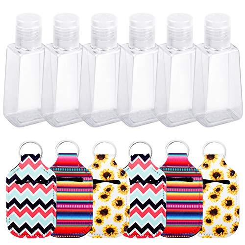Botellas vacías Botellas Recargables de 6 Piezas, Botella pequeña, Botella de Viaje con Soporte de Llavero de 6 Piezas para sostener loción, champú, ambientador (30 ml)