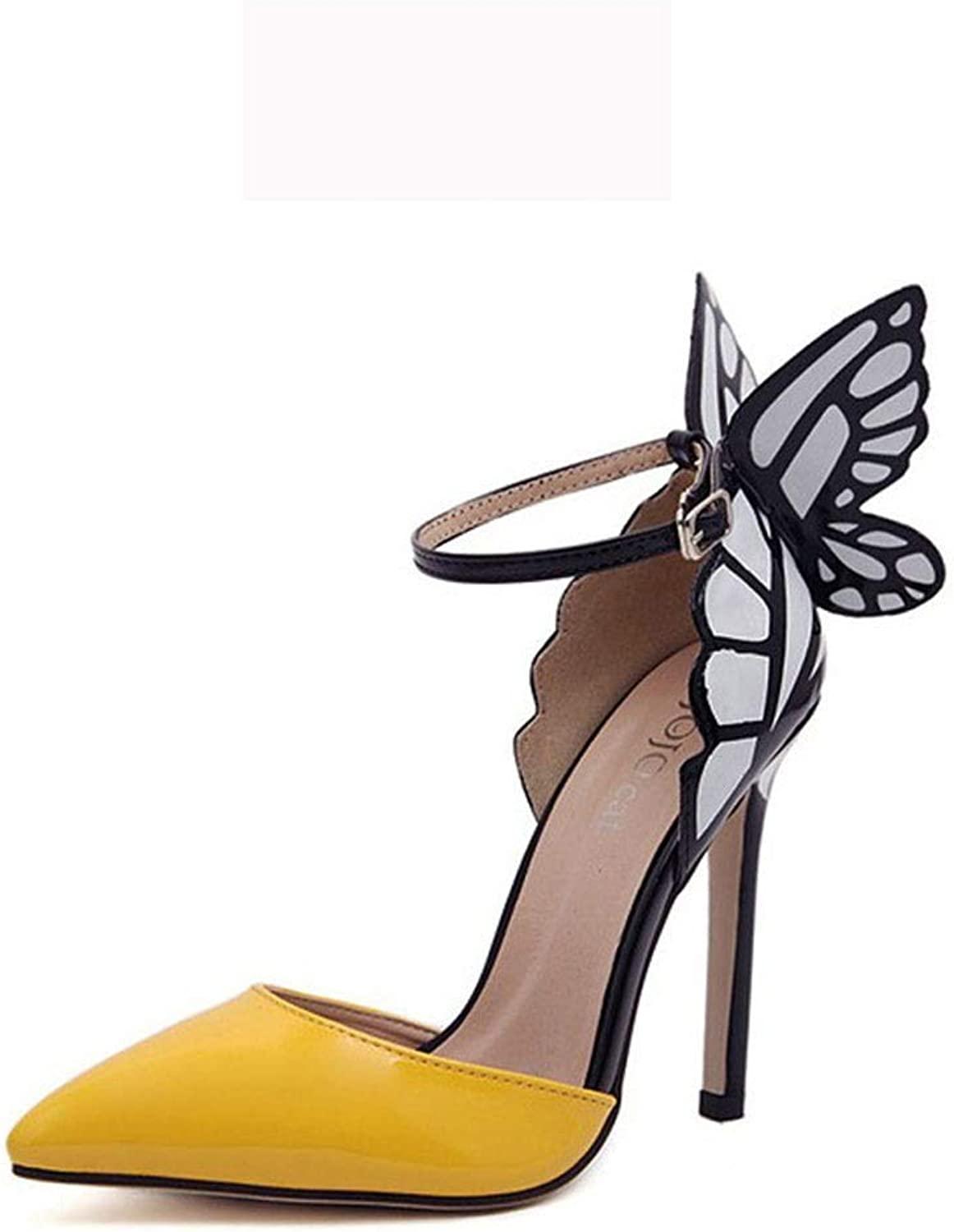 High Heels Fashion Butterfly Stiletto Sandals Fish Mouth Sandals Pointed Shallow Mouth Single (color   Yellow, Size   7 US)