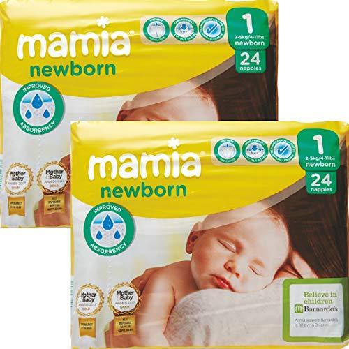ALDI Mamia Neugeborene Windeln, Größe 1, 2 x 24 Stück (48 Windeln)