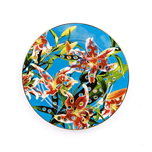Seletti Toiletpaper Assiette plate en porcellaine avec décor fleurs avec trous et bord doré