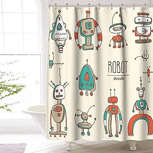 Cortina de Ducha de Robot de poliéster Premium, Lavable a máquina, Cortina de Ducha de Robot Impermeable para decoración de baño, 72 x 72