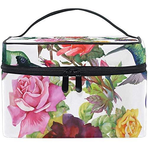 Colibris avec des fleurs sac cosmétique voyage maquillage train cas stockage organisateur