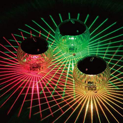 Uonlytech Solar schwimmende Licht, wasserdichte magische Kugel Licht, Solar Teich schwimmende Licht für Garten Schwimmbad (3 Stück, buntes Licht)