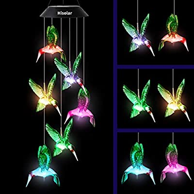 HiSolar Hummingbird Solar Wind Chime Color Changing Solar Mobile Light Waterproof LED Wind Chime Solar Powered Wind Mobile Colorful Light for Home Party Yard Garden Decoration(Green)