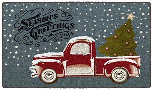 Brumlow Mills Season's Greetings Truck Washable Festive Christmas Tree Snow Scene Indoor or Outdoor Holiday Rug for Living or Dining Room, Bedroom and Kitchen Area, 20'x34'