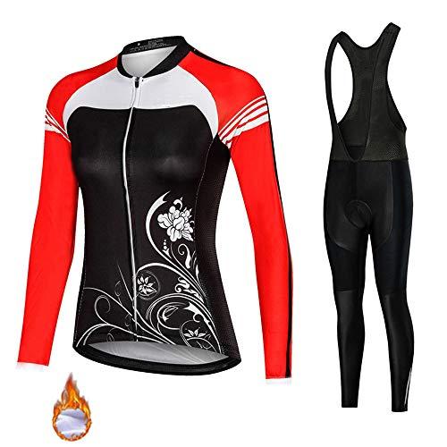 Qi Peng Forro Polar Térmico para Mujer Conjunto de Maillot de Ciclismo, Ropa de Medias de Bicicleta MTB a Prueba de Viento de Manga Larga con Pantalones Acolchados 9D (Color : B,...