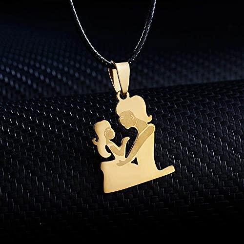 DGSDFGAH Collar De Mujer Amor Maternal Personalidad De Acero Inoxidable Modelo De Pareja Madre Hija Collar Mujer Colgante Hija Niño Cadena Dorada Regalo Familiar
