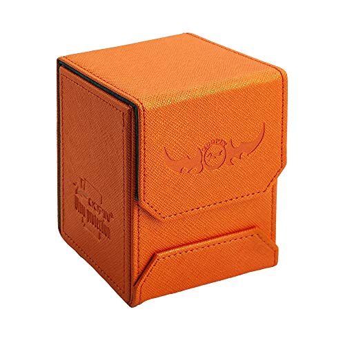 Zoopin Leather Deck Box-Orange for Collectible Cards-MTG,Yugioh,Pokeman,TES Legacy,Munchkins CCG Decks and Also Small Tokens or Dice- Hold 80 Sleeved Cards or 150 Naked Cards …