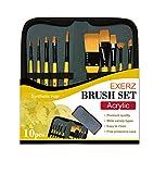 Exerz JH024 Artist Paint Brush Set – 10 pcs Professional Synthetic Hair Brushes