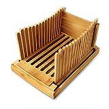 Máquina de cortar pan de bambú de Amyhome, rebanadora de pan para pan casero, guía ajustable para rebanar pan y pan plegable portátil con bandeja de migas para pan/pastel/bagel