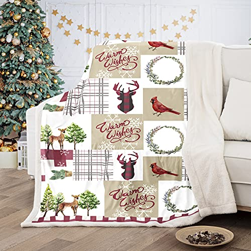 Christmas Patchwork Throw Blanket Elk Print Large Soft Warm Cozy Flannel Blanket for Couch Bed Sofa (Double Size 150x200cm)