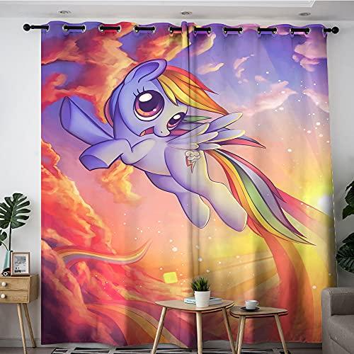 Verdunklungsvorhänge mit Knopfloch, Comic My Little Pony, Regenbogen Pferd, Verdunkelungsvorhänge mit Wärmedämmungsmaterialien, 213,4 x 137,2 cm