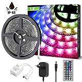 LE LED Strip, LED Streifen, 5m Stripe, RGB Lichtband, IP65 Wasserdichte LED Lichterkette, upgrade 44-Tasten Fernbedienung, 5050 SMD LED Band Streifen, Dimmbar LED Leiste